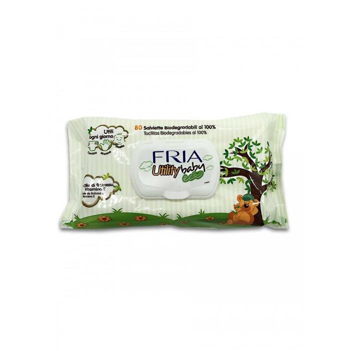 Салфетки Fria Детские влажные салфетки Baby Utility Eco биоразлагаемые с маслом бабассу 80 шт. влажные салфетки ponky baby 120 шт