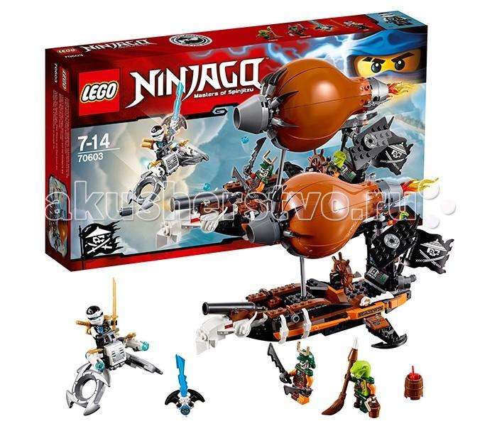Конструктор Lego Ninjago 70603 Лего Ниндзяго Дирижабль-штурмовикNinjago 70603 Лего Ниндзяго Дирижабль-штурмовикКонструктор Lego Ninjago 70603 Лего Ниндзяго Дирижабль-штурмовик   Заточив Джея в Джинн-клинок, небесные пираты спешат добраться до своего логова. Для этого они используют настоящий боевой дирижабль-штурмовик, способный дать отпор любому ниндзя.   Корпус дирижабля выполнен из коричнево-чёрных деталей с добавлением контрастных оранжевых элементов. Сверху виден огромный баллон, наполненный газом. Спереди его придерживает воздухозаборник с цепкими щупальцами, а сзади двигатель, закреплённый на главной мачте. Под баллоном располагается длинная палуба. В её носовой части сосредоточено главное вооружение, состоящее из большой пушки и двух боковых орудий. К ним прилагается запас снарядов и бочка с динамитом, которую можно сбросить на головы противников, потянув за хвостовой двигатель и открыв нижний люк.   Корма дирижабля представляет собой капитанский мостик с вращающимся штурвалом, датчиками и мониторами. По бокам от них установлены симметричные крылья, оканчивающиеся якорями. Также как и задние закрылки с пиратскими эмблемами они способны менять своё положение и подстраиваться к различным видам полёта. Интересными декоративными элементами данного летательного аппарата являются длинные лезвия, прикрывающие борта, крепления для пиратских белых мечей и развивающийся флаг. Размер дирижабля в собранном виде составляет 15х29х16 см.  Также в наборе Лего 70603 Вы найдёте детали для создания флайера Зейна (1х5х11 см) с рулевым управлением, радиаторной решёткой, подвижными обручами для парения и двумя пушками, украшенными золотыми сюрикенами.  В наборе присутствует Джинн-клинок с заточённым в нём Джеем и 3 минифигурки с оружием и аксессуарами: Зейн, Дублон и Кланси.  Количество деталей: 294 шт.<br>