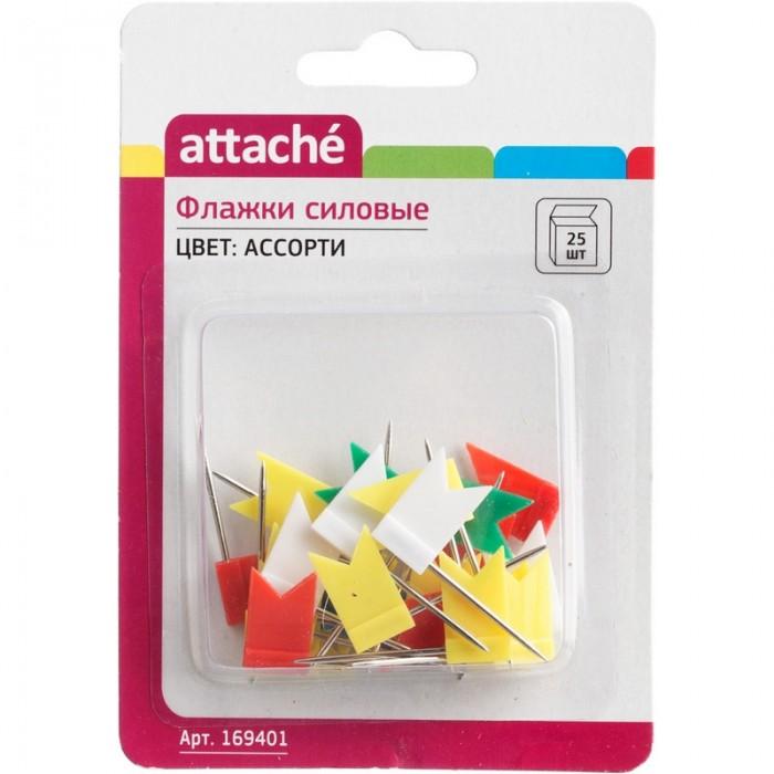 Канцелярия Attache Кнопки-флажки силовые для пробковых досок ассорти 25 шт. недорого