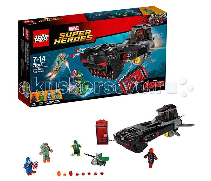 Конструктор Lego Super Heroes 76048 Лего Супер Герои Похищение Капитана АмерикаSuper Heroes 76048 Лего Супер Герои Похищение Капитана АмерикаКонструктор Lego Super Heroes 76048 Лего Супер Герои Похищение Капитана Америка   Капитан Америка был похищен приспешниками Гидры и посажен в специальную энергетическую ловушку, прикреплённую к подводной лодке Железного Черепа. Чтобы освободить супергероя из заточения, Железный человек поспешил в свою лабораторию и создал новую броню, способную выдерживать давление воды даже на максимальной глубине. Теперь он готов сразиться со злодеями и разрушить их боевую субмарину.  Из деталей набора Лего 76048 Вы сможете построить подробную модель подводной лодки Железного Черепа. Её вытянутый корпус сделан из серо-чёрных деталей с добавлением ярко-красных элементов и наклеек с логотипом Гидры. Спереди виден массивный моторный отсек, по бокам которого закреплены спаренные орудия. Комплекты боеприпасов хранятся в специальных контейнерах с откидными крышками.   Центральная часть субмарины представляет собой тюремный блок, состоящий из одной герметичной камеры. Она может фиксироваться внутри корпуса судна или свисать на прочной цепи. Кормовая часть подлодки напоминает капитанский мостик. Здесь есть небольшая кабина с поднимающимся лобовым стеклом, сигнальные огни, мощные двигатели и подвижные рулевые пластины, позволяющие маневрировать в толще воды. Размер подводной лодки в собранном виде составляет 9х23х12 см.  В наборе присутствуют 4 минифигурки с оружием и аксессуарами: Капитан Америка, Железный человек, Железный Череп и глубоководный ныряльщик Гидры.  Количество деталей: 335 шт.<br>