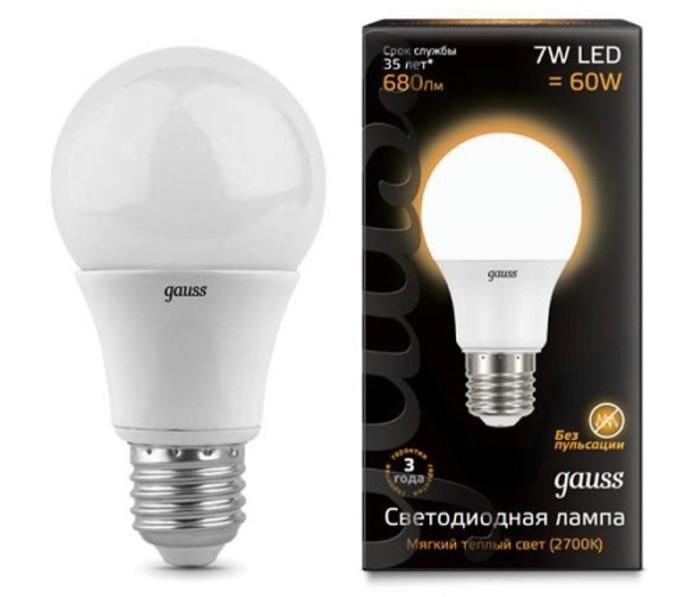 Светильники Gauss Лампа LED A60 E27 7W 680lm 3000K