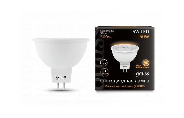 Светильники Gauss Лампа LED MR16 GU5.3 5W 12V 500lm 2700K