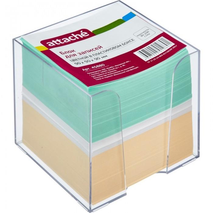 Канцелярия Attache Блок для записей в подставке цветной 9х9х9 см