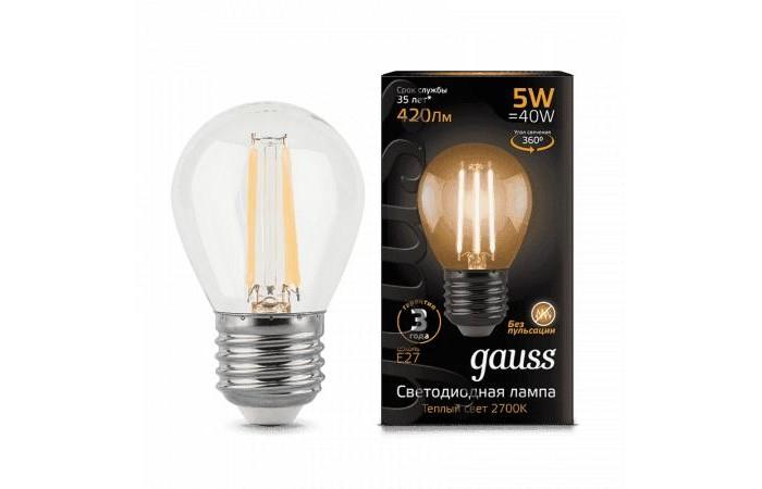 Светильники Gauss Лампа Шар Filament LED E27 5W 420lm 2700K лампа светодиодная sonnen 5 40 вт цоколь e27 свеча теплый белый свет led c37 5w 2700 e27 453707