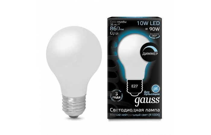 Светильники Gauss Лампа Filament OPAL Dimmable LED A60 E27 10W 860lm 4100К
