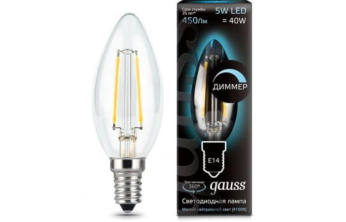 Светильники Gauss Лампа Свеча Filament Dimmable LED E14 5W 450lm 4100К
