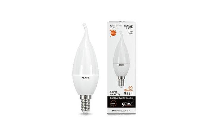 Светильники Gauss Лампа Свеча на ветру Elementary LED 8W E14 520lm 3000K лампа светодиодная свеча на ветру gauss 34128 e14 8w 4100k