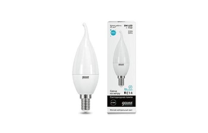 Светильники Gauss Лампа Свеча на ветру Elementary LED 8W E14 540lm 4100K лампа светодиодная свеча на ветру gauss 34128 e14 8w 4100k