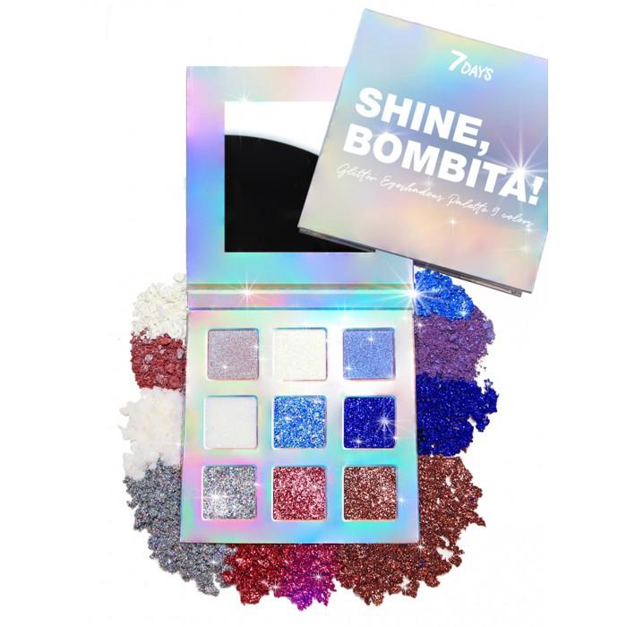 7Days Shine Bombita Палетка мерцающих теней для век 9 цветов