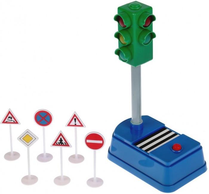 Купить Машины, Технопарк Светофор и дорожные знаки со светом и звуком 21 см