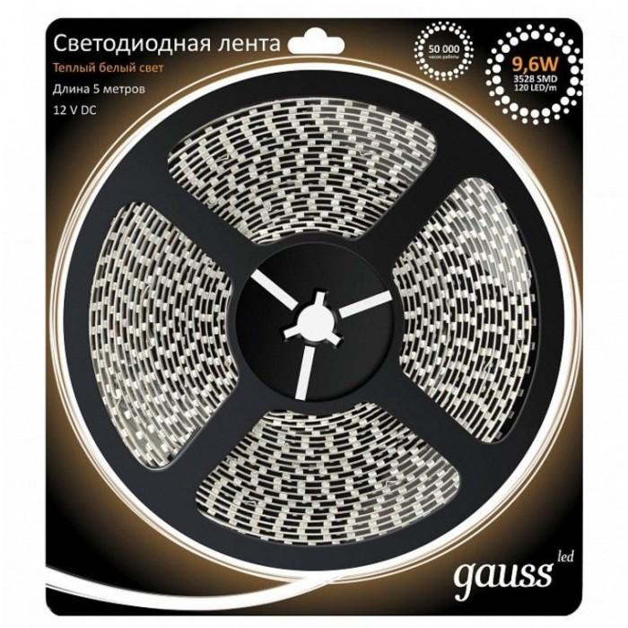 Светильники Gauss Лента LED 3528/120-SMD IP66 9.6W 12V 3000K 5 м