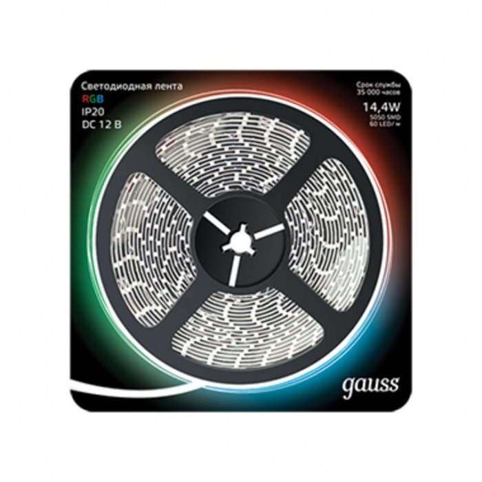 Светильники Gauss Лента LED 5050/60-SMD 14.4W 12V DC RGB 5 м