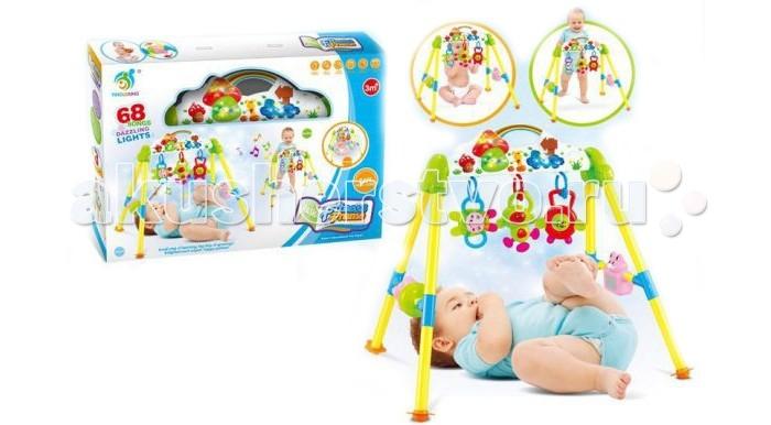 Игровой центр Shantou Gepai РадугаРадугаИгровой комплекс Радуга предназначен для детей, достигших трехмесячного возраста.   Игровой комплекс прост в сборке. К верхней панели крепятся подвески-погремушки. Ребенок может играть с ними лежа, стоя или сидя.   Яркие игрушки привлекут внимания малыша, помогут развить цветовое восприятие, слух, а также тактильные ощущения и моторику рук.  На панели имеется рычажок переключения. Вставьте 3 батарейки в игрушку (в комплект не входят) - заиграют мелодии и замигает подсветка.  Игрушка проигрывает 68 различных мелодий, в том числе несколько колыбельных на английском языке.  Комплектность: подвески-погремушки - 3 шт. погремушки-колесики - 2 шт. зеркальце - 1 шт.<br>