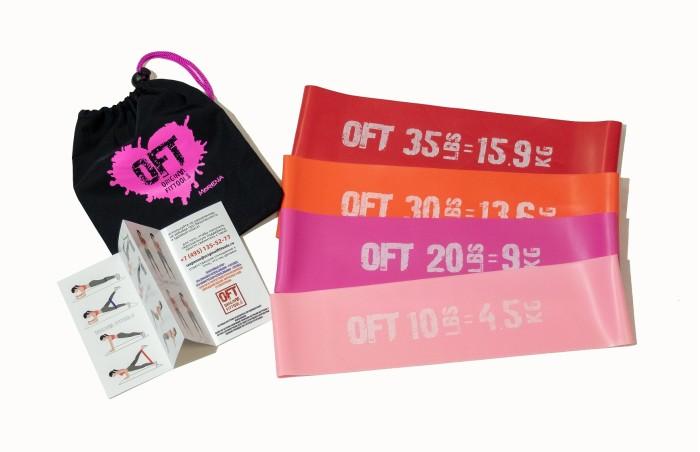 Спортивный инвентарь Original FitTools Набор из широких мини-эспандеров 4 шт.