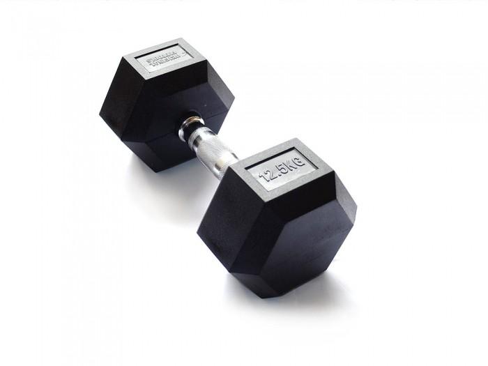 Спортивный инвентарь Original FitTools Гантель гексагональная 12.5 кг гантель гексагональная original fit tools обрезиненная хромированная ручка 2 кг ft hex 02
