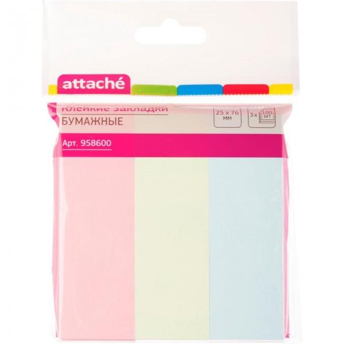 закладки клейкие staff 45х12 мм х 3 цвета 45х25 мм х 1 цвет по 25 листов код 1с Канцелярия Attache Клейкие закладки бумажные 25х76 мм 3 цвета по 100 листов
