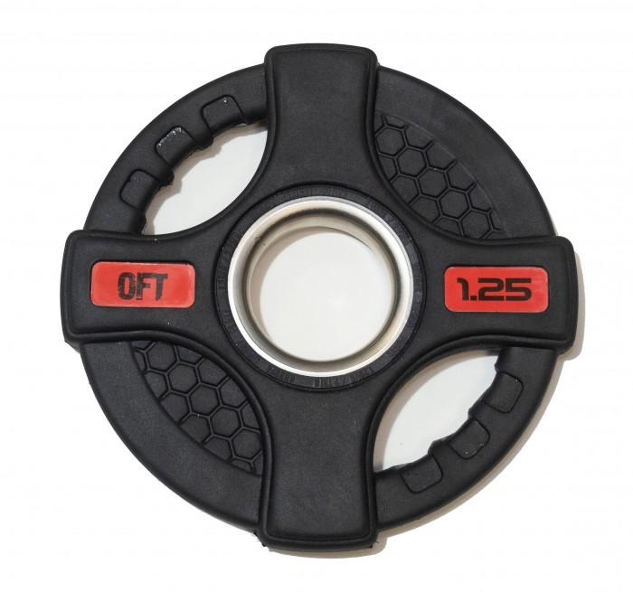 Спортивный инвентарь Original FitTools Диск олимпийский обрезиненный с двумя хватами 1.25 кг диск обрезиненный original fit tools олимпийский черный с двумя хватами 10 кг