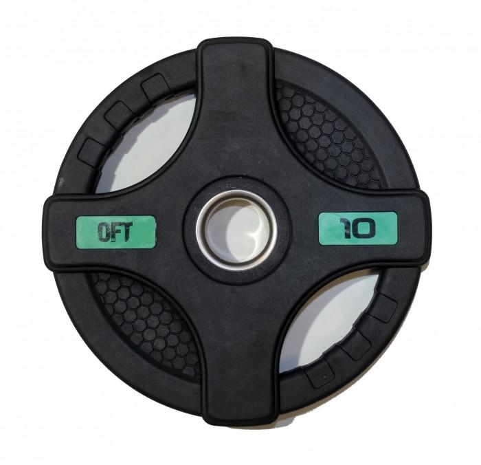 Спортивный инвентарь Original FitTools Диск олимпийский обрезиненный с двумя хватами 10 кг диск обрезиненный original fit tools олимпийский черный с двумя хватами 10 кг