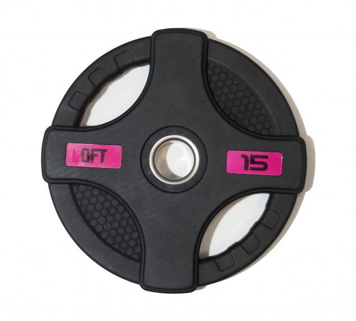 Спортивный инвентарь Original FitTools Диск олимпийский обрезиненный с двумя хватами 15 кг диск обрезиненный original fit tools олимпийский черный с двумя хватами 10 кг