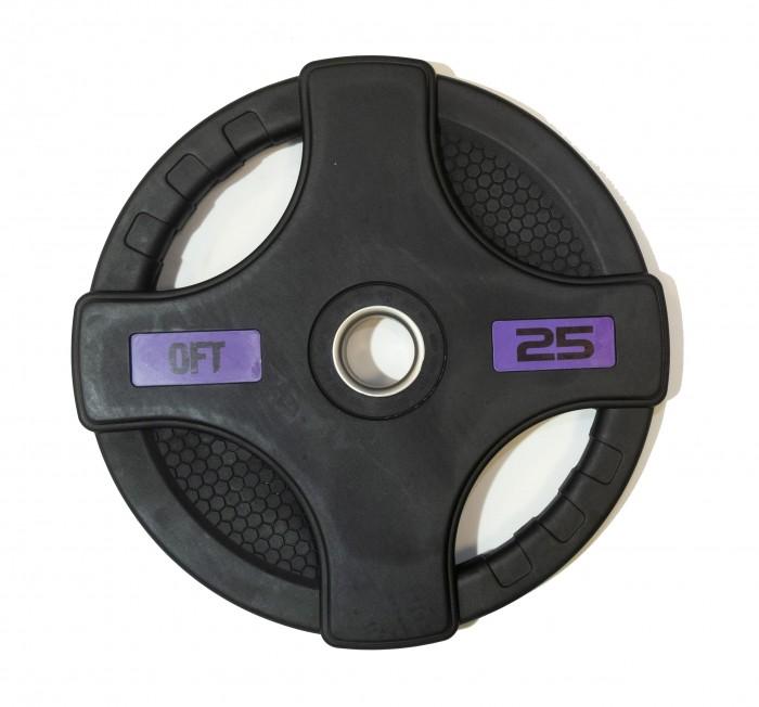 Спортивный инвентарь Original FitTools Диск олимпийский обрезиненный с двумя хватами 25 кг диск обрезиненный original fit tools олимпийский черный с двумя хватами 10 кг