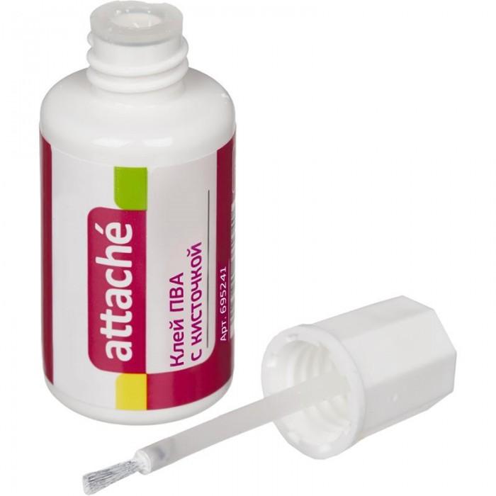 Канцелярия Attache Клей ПВА с кисточкой 20 г клей пва контакт 250 г