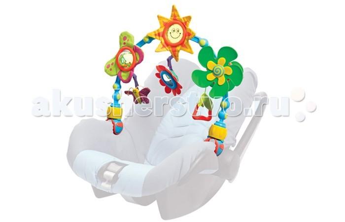Tiny Love Дуга-трансформер СолнечнаяДуга-трансформер СолнечнаяДуга-трансформер Tiny Love Солнечная для малышей с рождения. Дуга с подвесными игрушками подходит к любой коляске, может быть закреплена на детской кроватке, автомобильном кресле. Удобно устанавливается благодаря уникальной конструкции - с угловыми регуляторами.   Самые маленькие просто рассматривают игрушки, чуть-чуть позднее, с развитием координации движений, малыш начинает касаться игрушек, раскачивать их, затем - радостный момент открытия возможностей игры. Здесь и зрительный стимул, и развитие тактильных ощущений, координация движений и понятие действия и эффекта действия.   Красочность игрушек, различные материалы (разные типы пластика и множество тканевых фактур), звуки погремушек и шуршалок подарят малышу массу удовольствия!  Размер дуги: 48 х 30 х 7 см Размер упаковки 50 х 31 х 7 см<br>