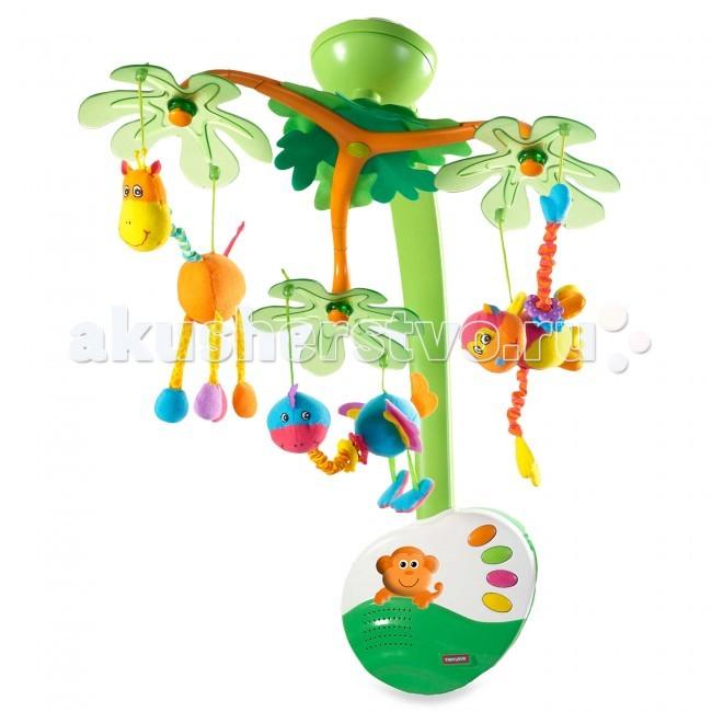 Мобиль Tiny Love Остров сладких грёзОстров сладких грёзМузыкальный мобиль с ночничком и подвесными игрушками.   В комплекте: мобиль с 3 подвесными игрушками; пульт дистанционного управления.   подходит для крепления к стенкам детских кроваток; на дугах под полупрозрачными пластиковыми листьями подвешено 3 мягкие игрушки - жирафик, обезьянка и страусенок. Они снимаются и могут использоваться для независимой игры; 20 минут непрерывного звучания классической музыки и звуков природы - 4 мелодии проигрываются по очереди или кнопочкой на музыкальном блоке выбирается одна мелодия, которая проигрывается в течение 20 минут; на музыкальном блоке выбирается один из двух режимов игры: - музыка и движение; - музыка, движение и подсветка (ночничок); громкость регулируется - 3 положения: нет звука - тихо - громко; ночничок - подсвеченная фигурка обезьянки на музыкальном блоке; пультом дистанционного управления (одна большая кнопочка) можно переключать режим игры (музыка или музыка с подсветкой), а также выключить мобиль; на пульте есть тканевая петелька для подвешивания; пульт работает на расстоянии около 5 м от музыкального блока; когда малыш подрастет (после 5 месяцев) дуги демонтируются и музыкальный блок используется как музыкальная шкатулка и ночник.   Батарейки для музыкального блока - 3хС, для пульта - 2хААА (в комплект не входят). Материал высококачественная пластмасса, полиэстер. Размер игрушки музыкальный блок - 19х17 см, пульт - 7х7,5 см. Размер упаковки 41х34,5х12 см.<br>