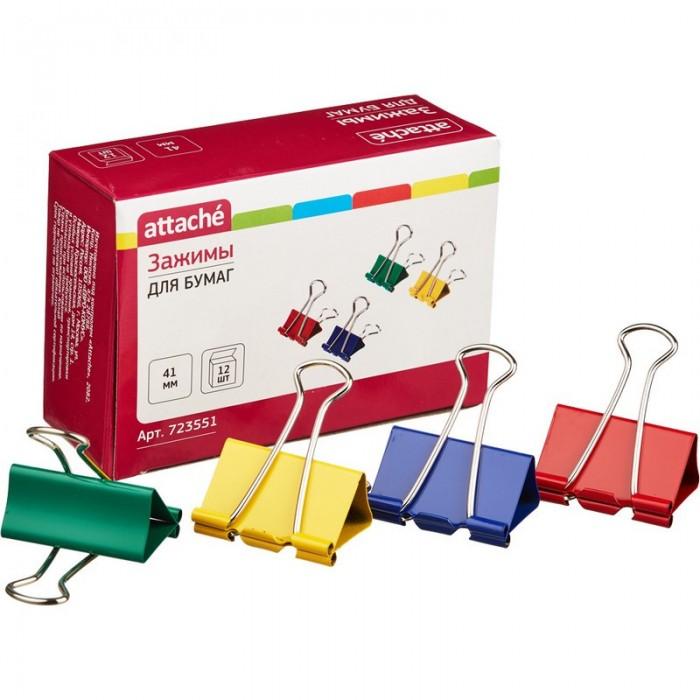 Канцелярия Attache Зажим для бумаг цветные 41 мм 12 шт. зажимы для бумаг staff комплект 12 шт 41 мм на 200 листов цветные в картонной коробке 225159