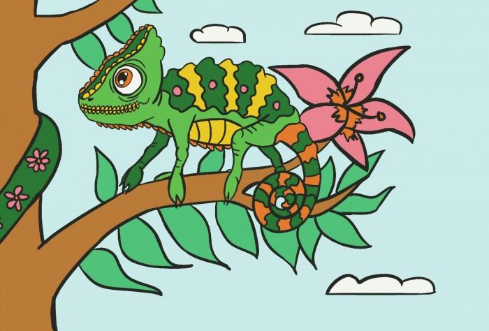 открытки по номерам с декором сказочный единорог открытки по номерам с декором bc001 Картины по номерам Color Kit Картина по номерам Хамелеон