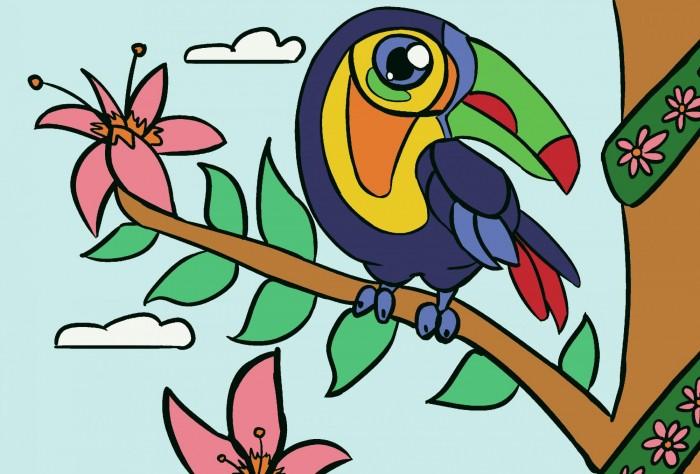 открытки по номерам с декором сказочный единорог открытки по номерам с декором bc001 Картины по номерам Color Kit Картина по номерам Тукан