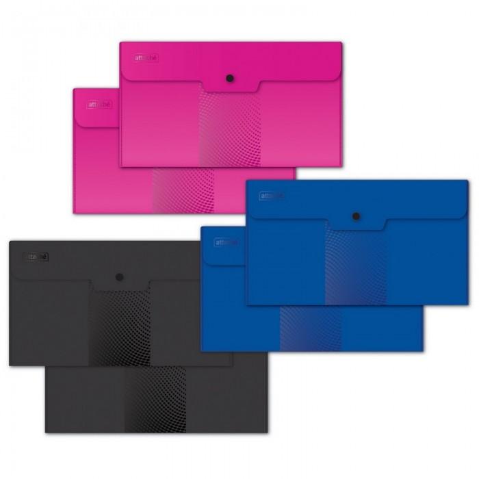 папка конверт deli bumpees ez65102 на кнопке цвет в ассортименте 1028921 формат a4 Канцелярия Attache Папка конверт на кнопке Travel Digital ассорти 6 шт.