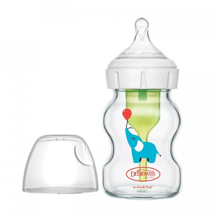 Бутылочки Dr.Browns Антиколиковая Options+ с широким горлышком с соской для новорождённых Стеклянная Слоник 150 мл