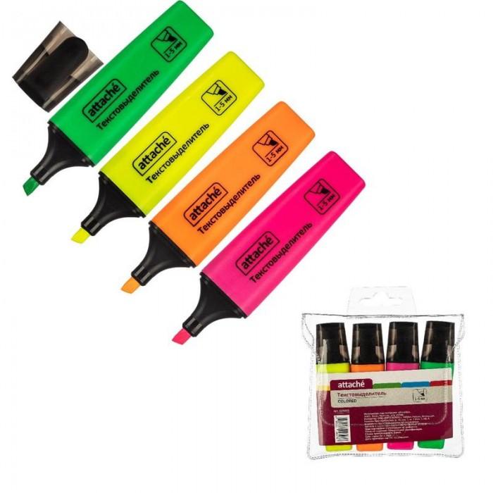 Канцелярия Attache Маркер выделитель текста Colored 1-5мм 4 цвета маркер перманент ecoline скошенный 1 5мм красный