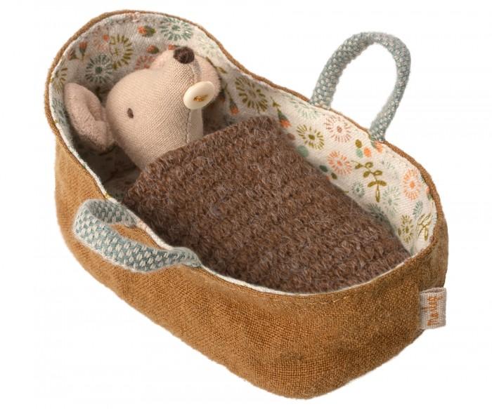 Мягкая игрушка Maileg Новорожденный мышонок в переносной люльке