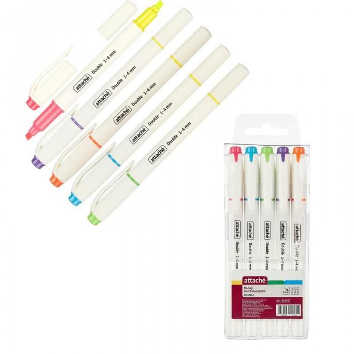 Канцелярия Attache Маркер выделитель текста Double 1-4 мм 6 цветови 5 маркеров