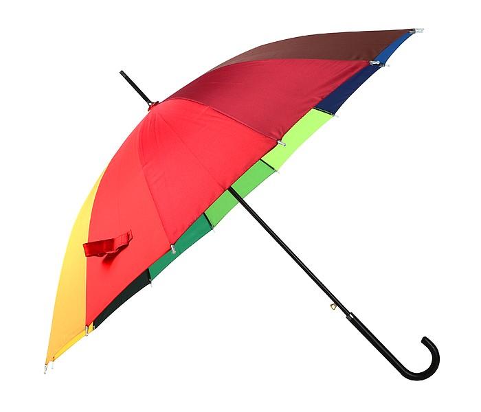 Зонты Эврика трость с кожаной ручкой Радуга