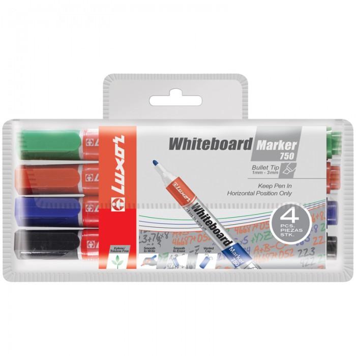 Фото - Канцелярия Luxor Набор маркеров для белых досок 750 4 цвета berlingo набор маркеров для досок 4 шт bmc_40509