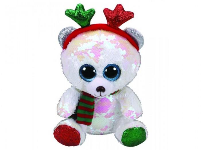 Мягкие игрушки, Мягкая игрушка TY Мистлтоу медведь с оленьими рогами 15 см  - купить со скидкой
