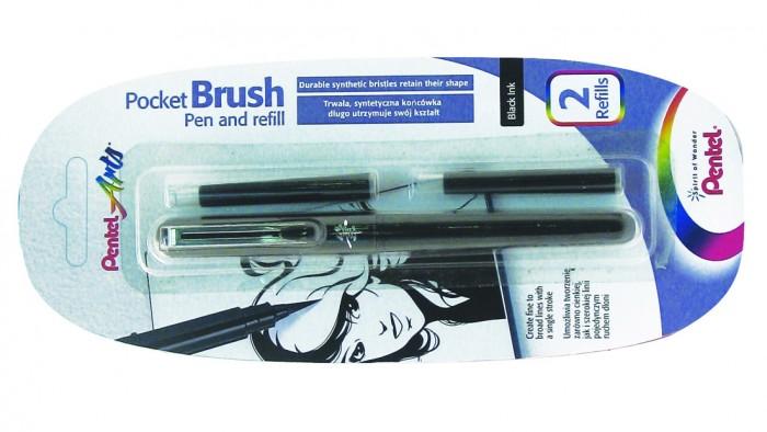 Pentel Ручка-кисть Brush Pen для каллиграфии и 2 запасных картриджа