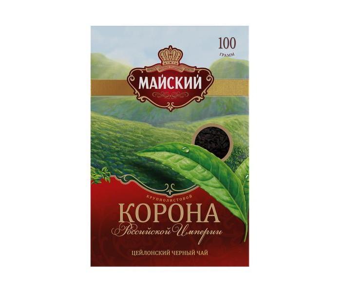 Чай Майский Чай черный Корона Российской Империи 100 г майский чайная матрешка синяя черный листовой чай 30 г