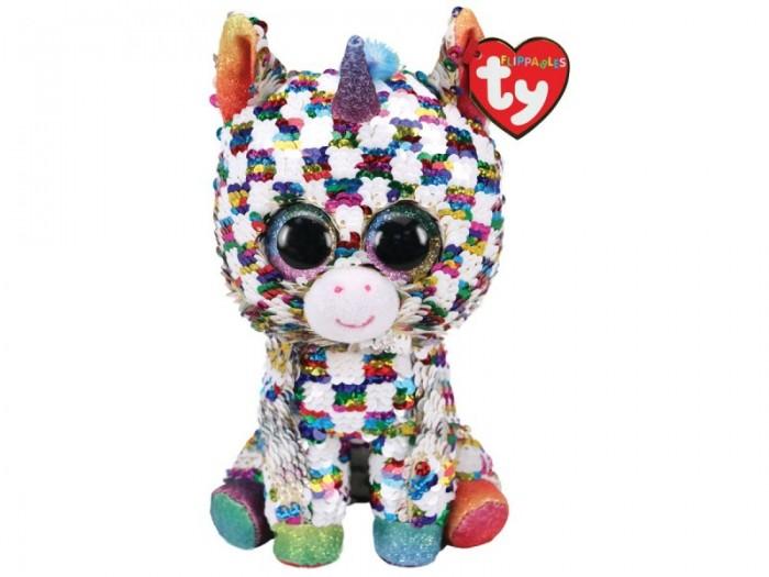 Купить Мягкие игрушки, Мягкая игрушка TY Единорог Юникорн в разноцветную клетку с пайетками 25 см