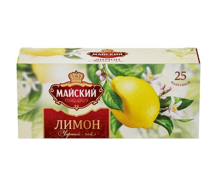 Чай Майский Чай черный Лимон 25 пак. чай akbar чай черный ароматизированный яблоко и шиповник 25 пак