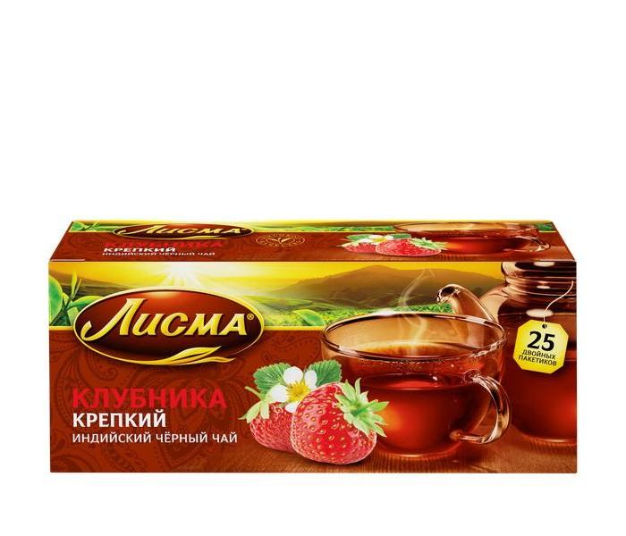 Чай Лисма Чай черный Крепкий Клубника 25 пак.