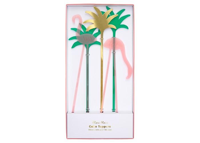 Товары для праздника MeriMeri Топперы Фламинго