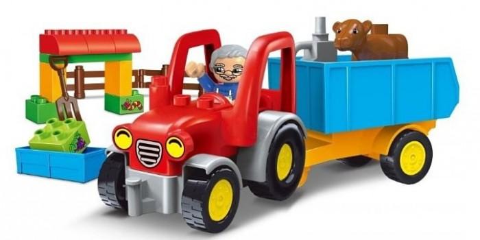 Конструктор Gorock Трактор с прицепом (32 детали)