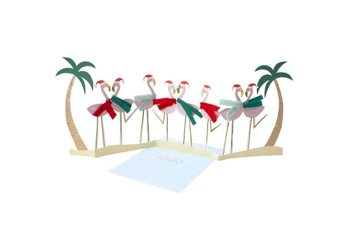 Товары для праздника MeriMeri Открытка-гармошка Новогодние фламинго