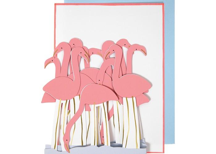Товары для праздника MeriMeri Открытка складная Фламинго