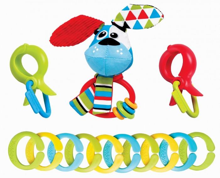 Подвесная игрушка Yookidoo Набор игровой Собачка с погремушками и колечками фото