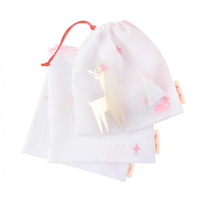 Новогодние украшения MeriMeri Подарочные мешочки Олени (ткань) подарочные сертификаты