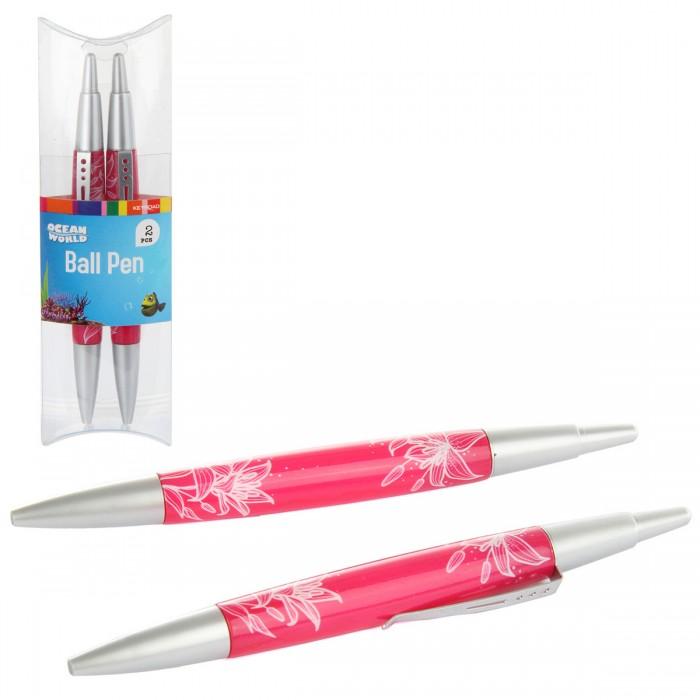 Канцелярия Veld CO Ручка шариковая автоматическая синяя 2 шт. канцелярия lejoys ручка шариковая с колпачком в корпусе из бамбука черная 13 5 см